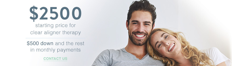 Get the straight smile you've always dreamed of! $2500 starting price for clear aligner therapy - $500 down and the rest in monthly payments. Contact Us!