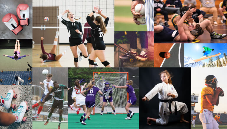 Collage of sports that athletes would benefit from wearing an athletic mouthguard